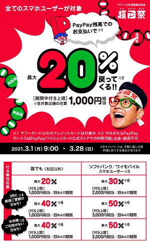 PayPayキャンペーン3月-超ペイペイ祭